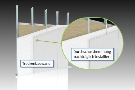 Durchschusshemmende Wand im Trockenbau